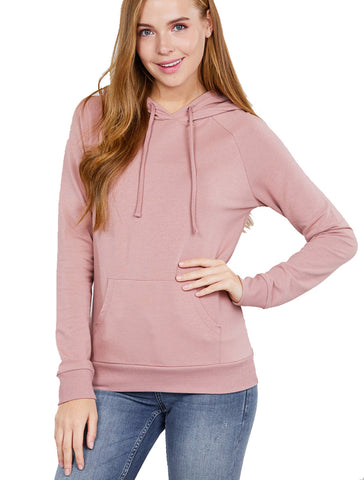 Women Casual Pullover Drawstring Kangaroo Pocket Hooded Sweatshirt