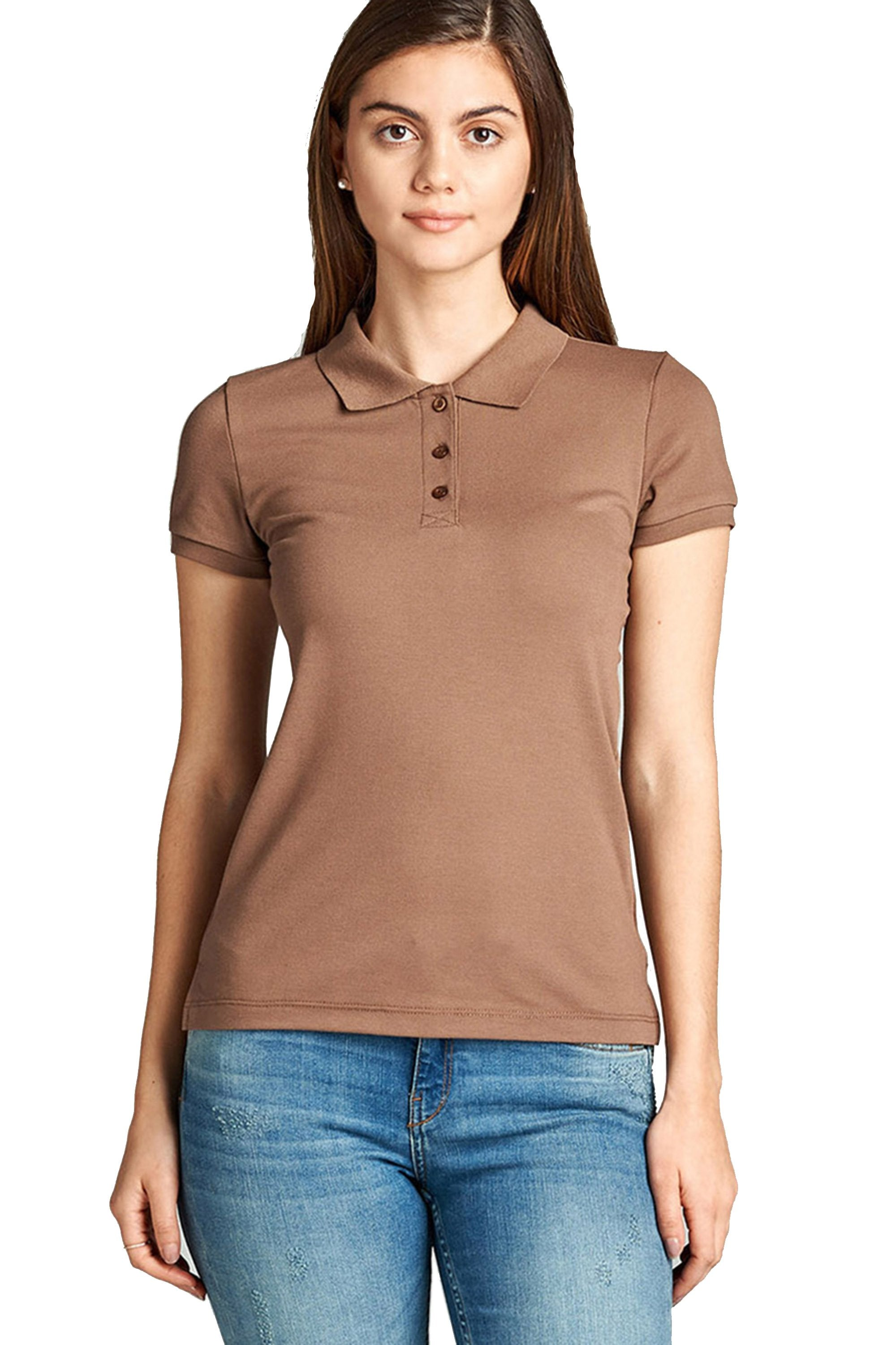 Khanomak Women's Classic Short Sleeve Pique Polo Shirt Top
