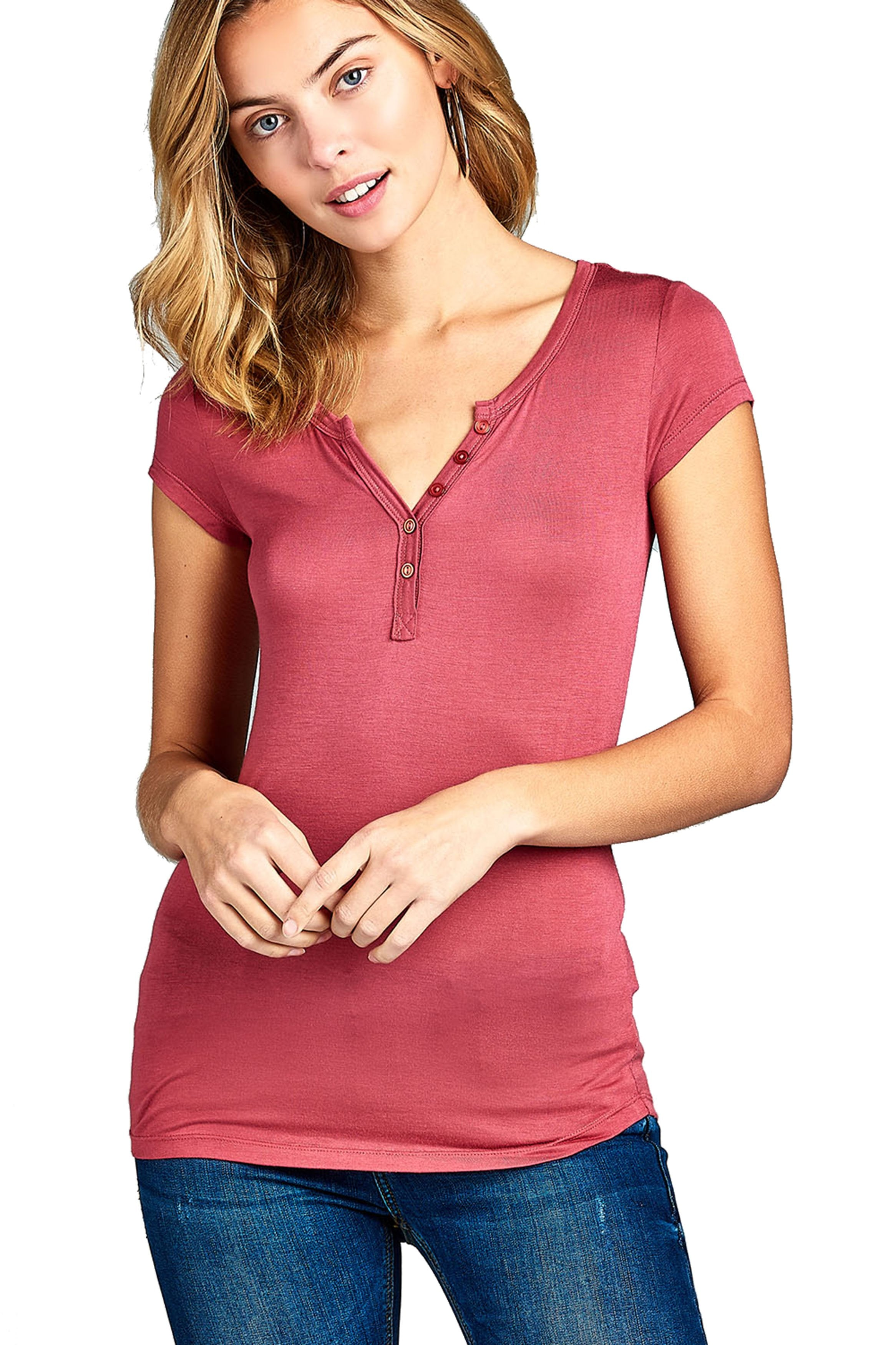 Women's Short Sleeve Button Placket Front Basic Casual Top