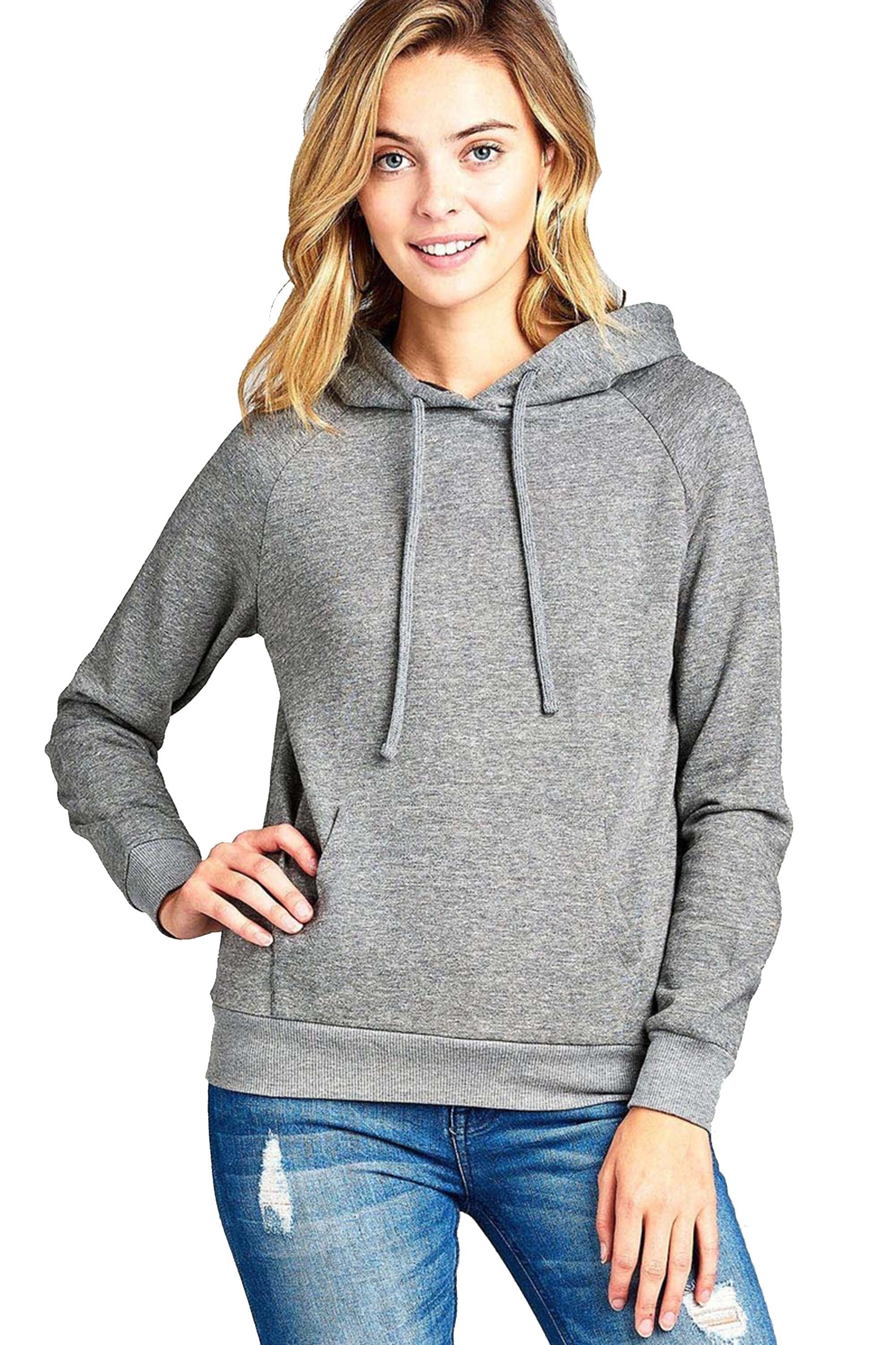 Khanomak Women's Long Sleeve Brushed Pullover Hooded Sweatshirt
