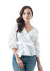 Ruched Sleeve V Neck Surplice Waist Wrap Tie Woven Top