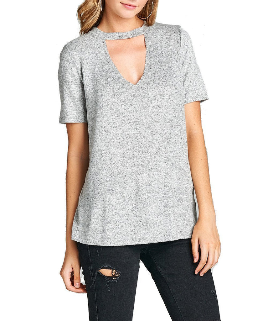 Plain Soft Short Sleeve V Neck With Choker Brushed Hacci Knit Top