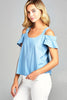 Khanomak Women's Cold Shoulder Round Neck Style Loose Fit Chambray Top Shirt