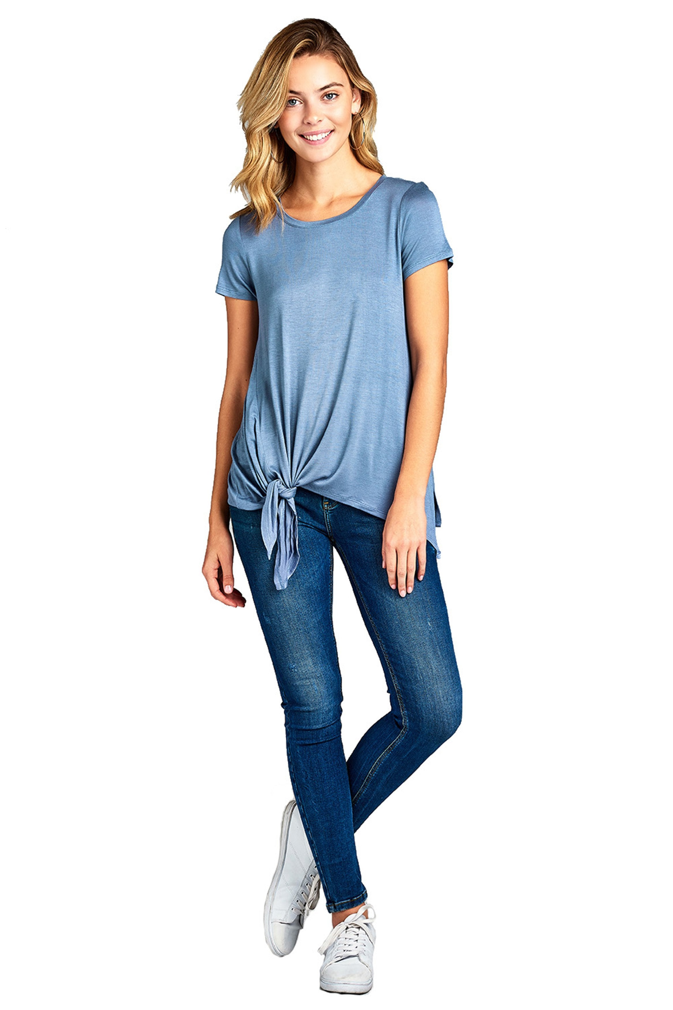 Short Sleeve Round Neck Side Knot Slit Solid Lightweight Loose Fit Casual Top