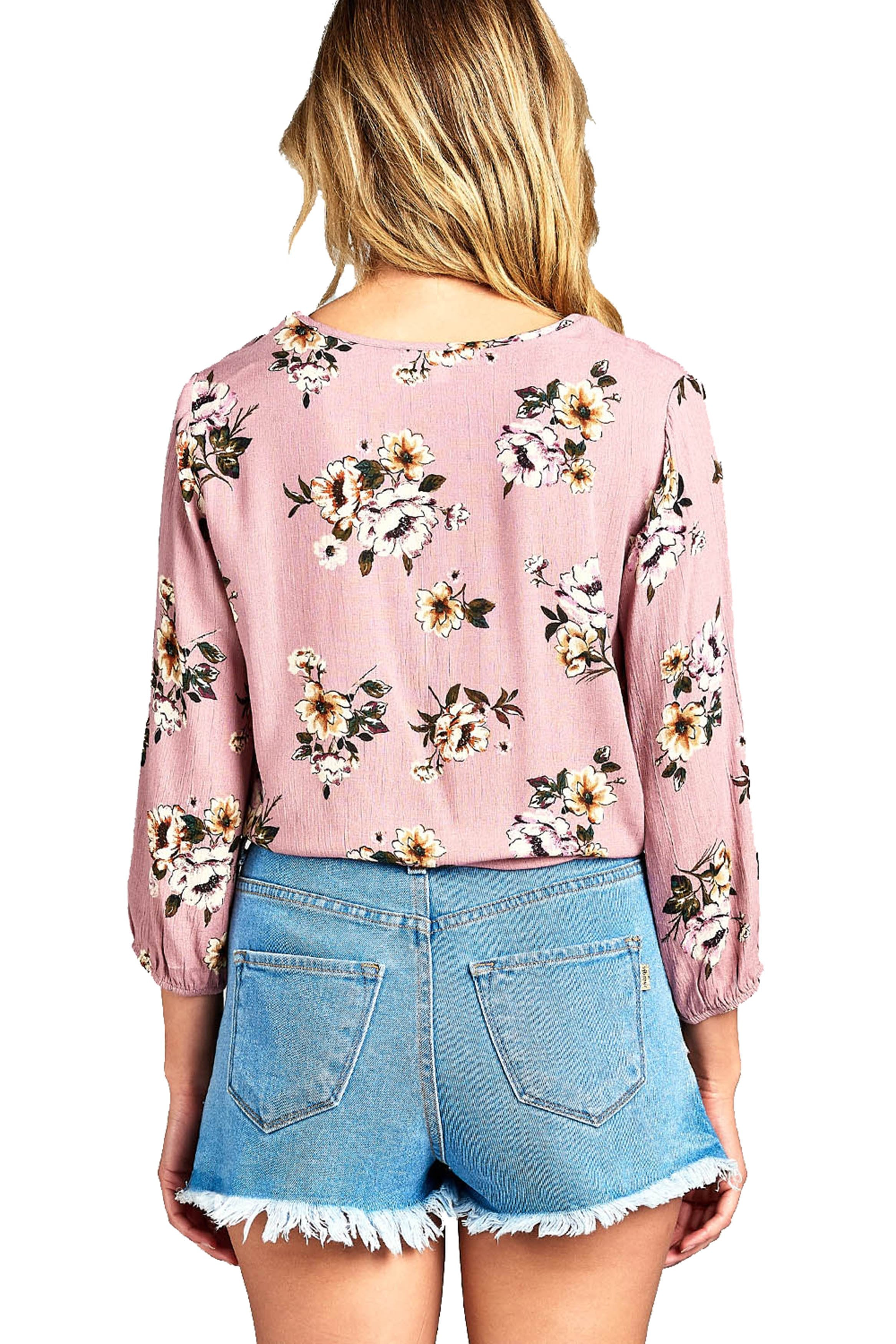 Long Sleeve Elasticized Cuffs Round Neck Semi Cropped Floral Print Front Self Tie Top