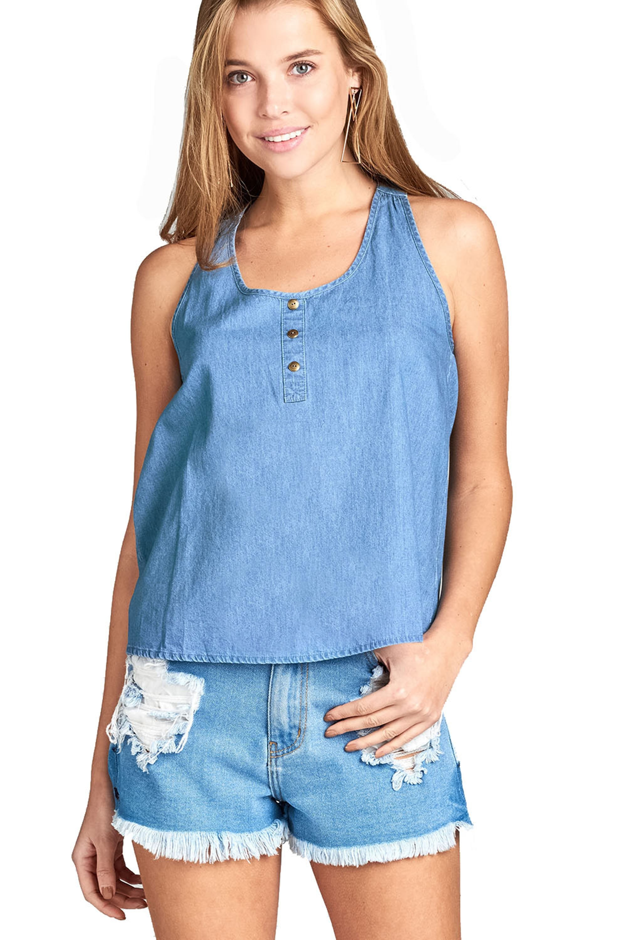 Women's Sleeveless Scoop Neck Front Button Detail Chambray Top