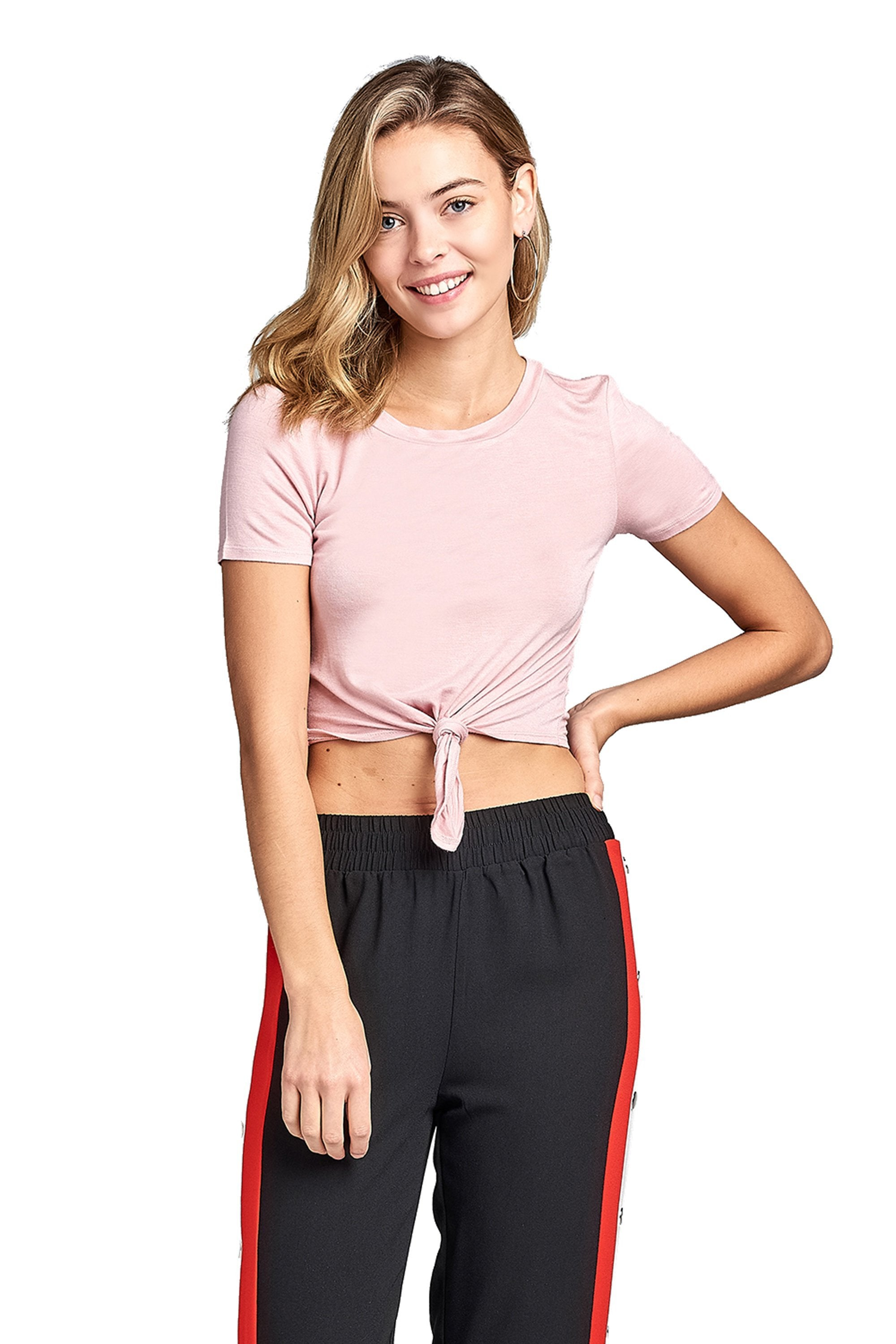 Plain Short Sleeve Round Neck With Knotted Front Basic Crop Top