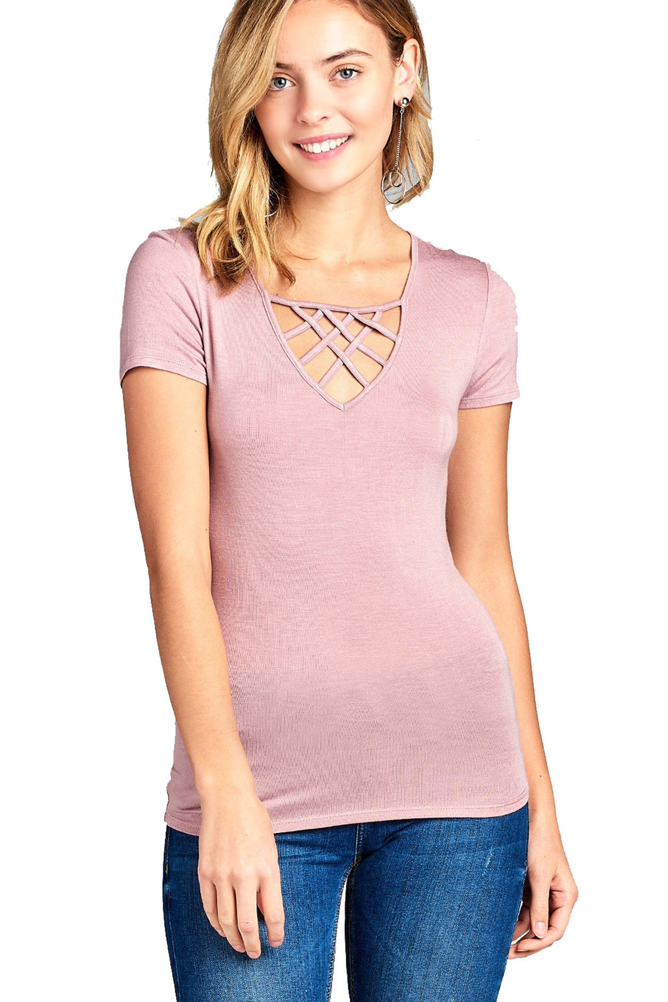 Short Sleeve Basic Casual Crisscross Strappy V-Neck Fitted Top