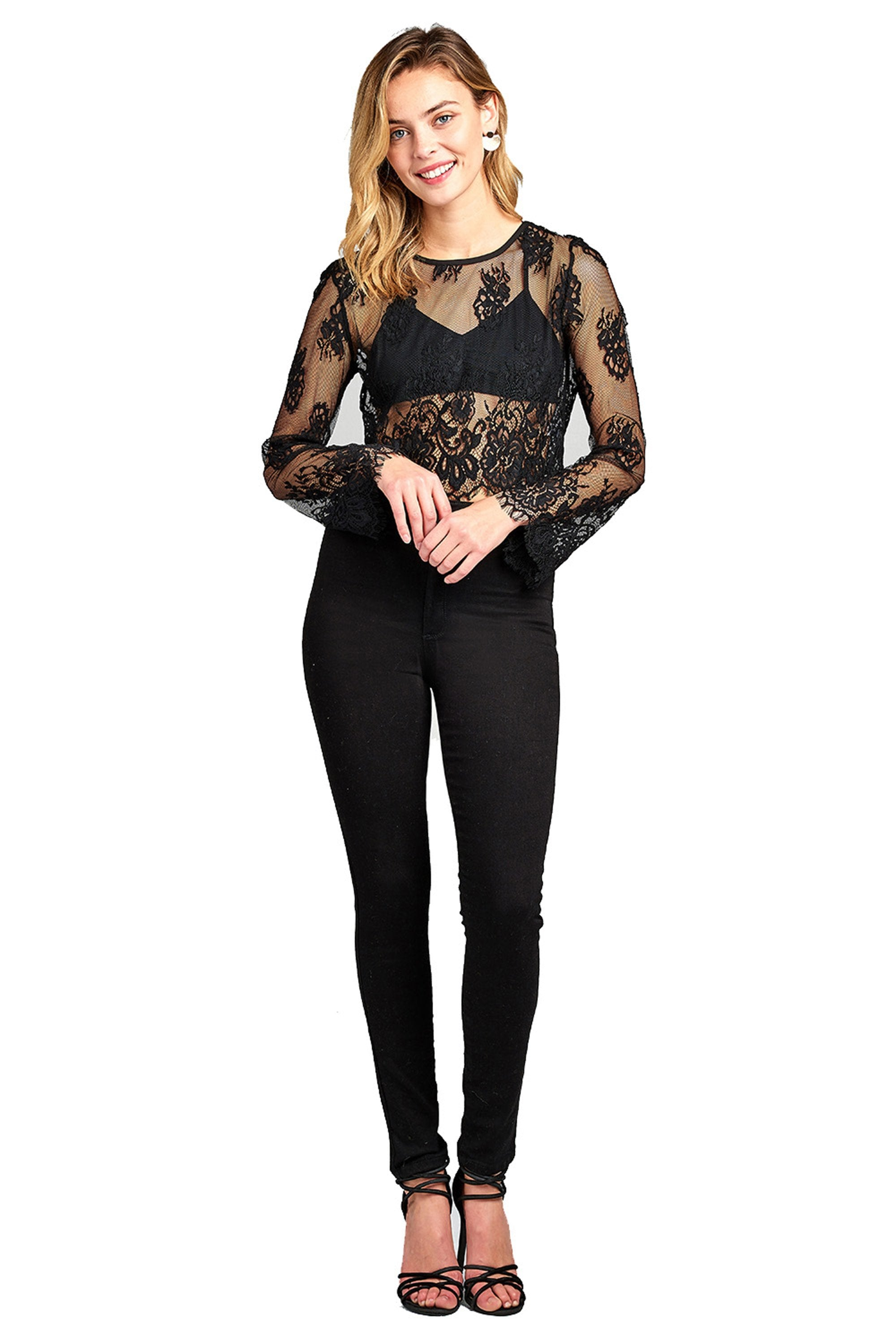 Bell Long Sleeve Round Neck Scallop Lace Trim Hem Sheer Crop Top