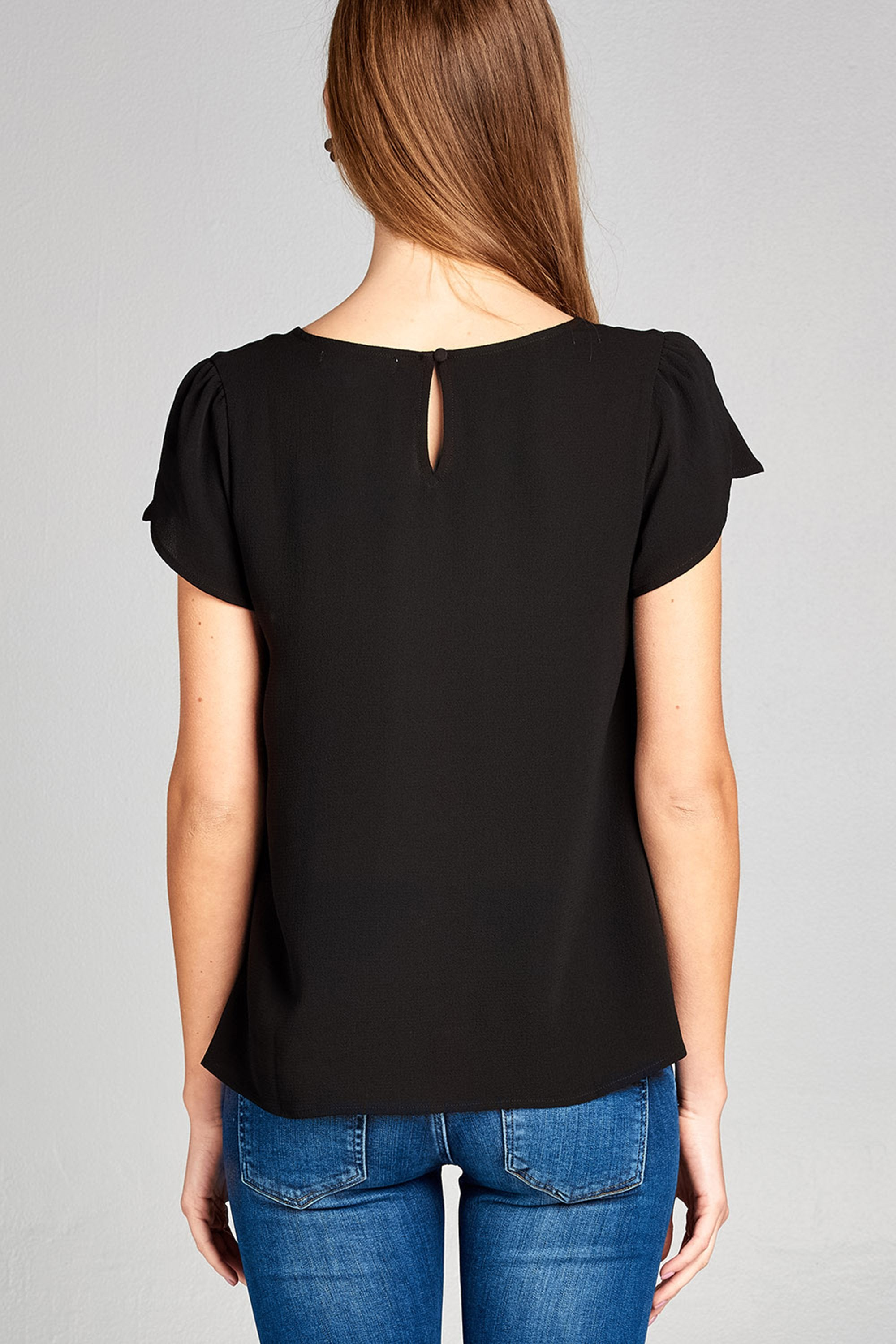 Women's Tulip Sleeve Round Neck Back Button Crepe Top
