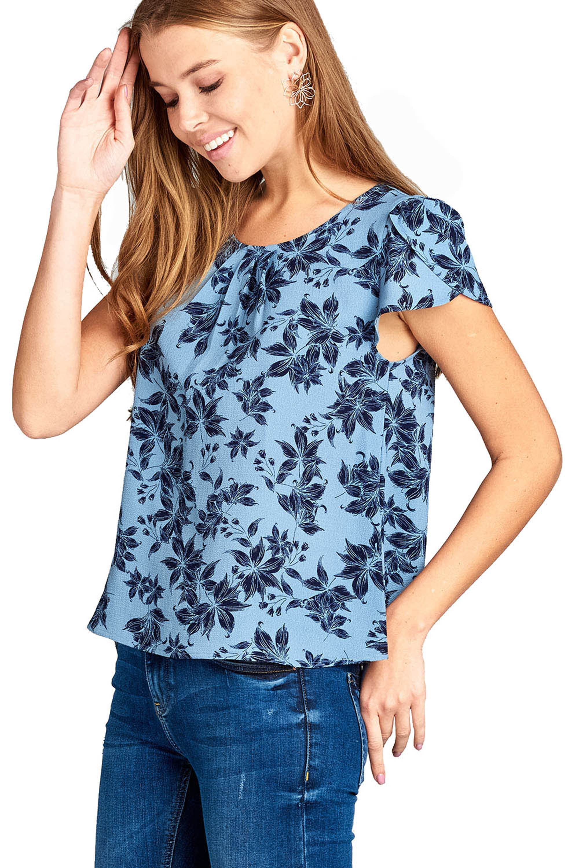 Khanomak Women's Short Sleeve Floral Criss Cross V-Neck Back Blouse