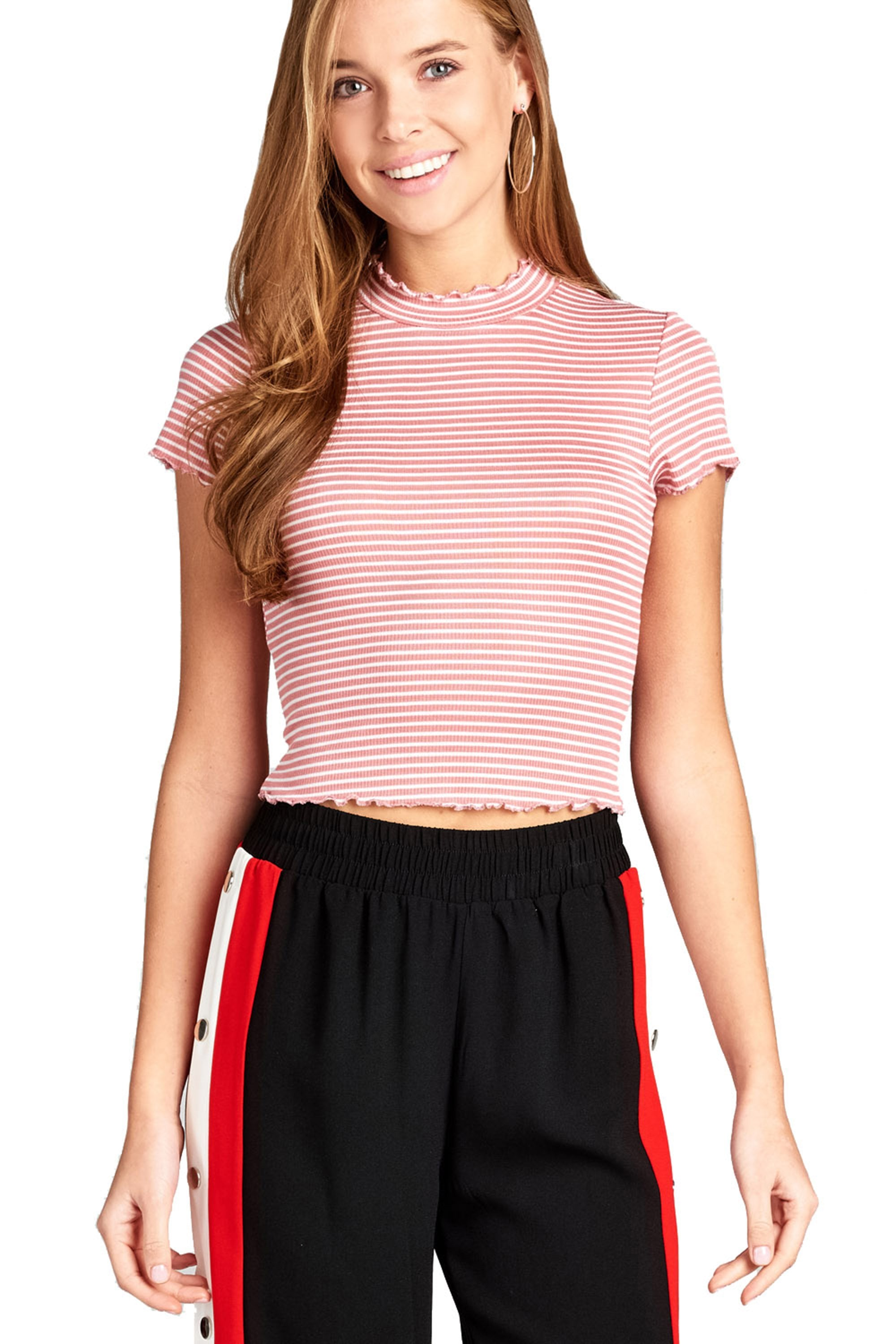 Short Sleeve Mock Neck Stripe Ruffled Hem Rib Crop Top