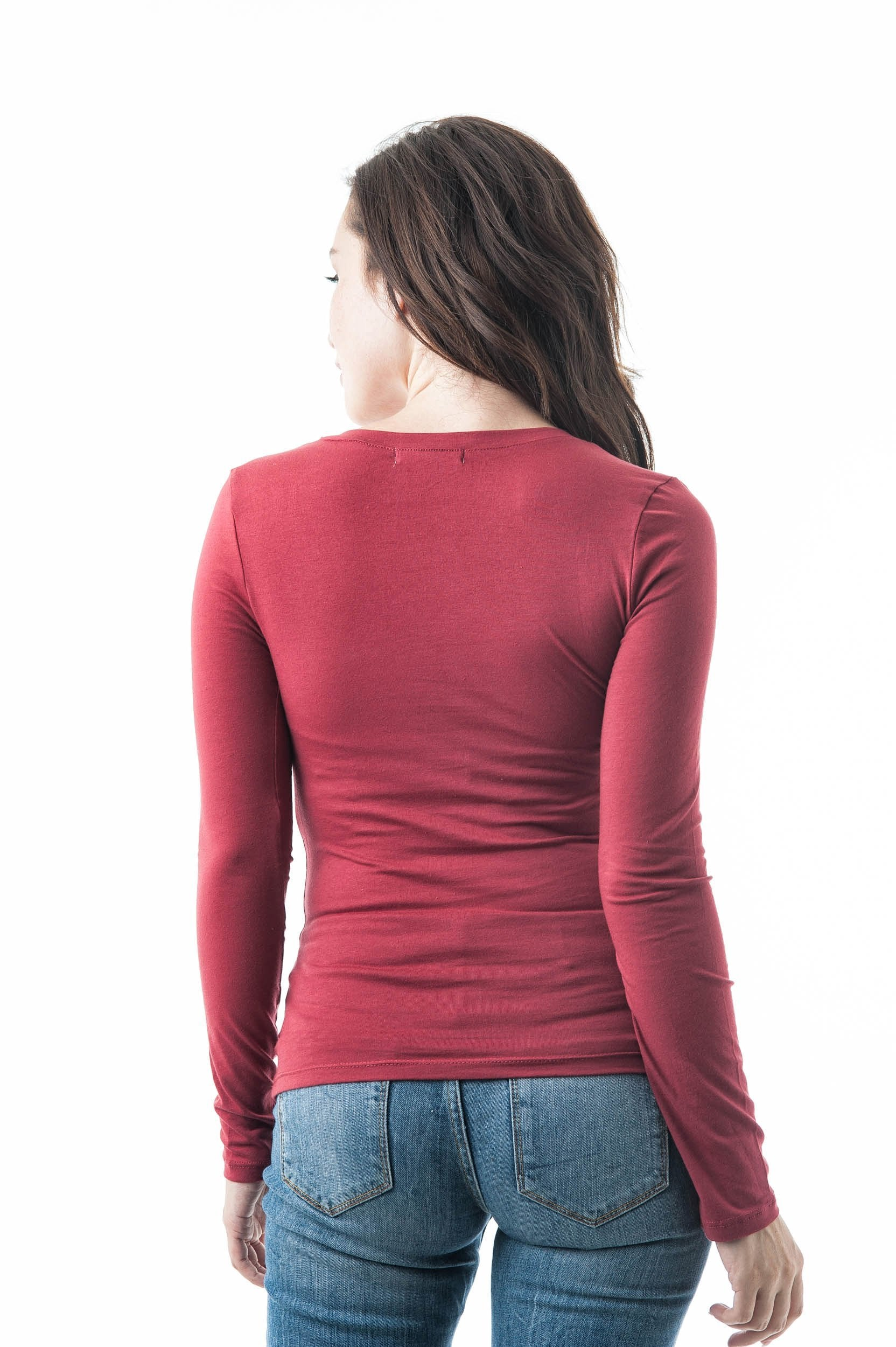 Plain V Neck Long Sleeve Tee T-Shirt