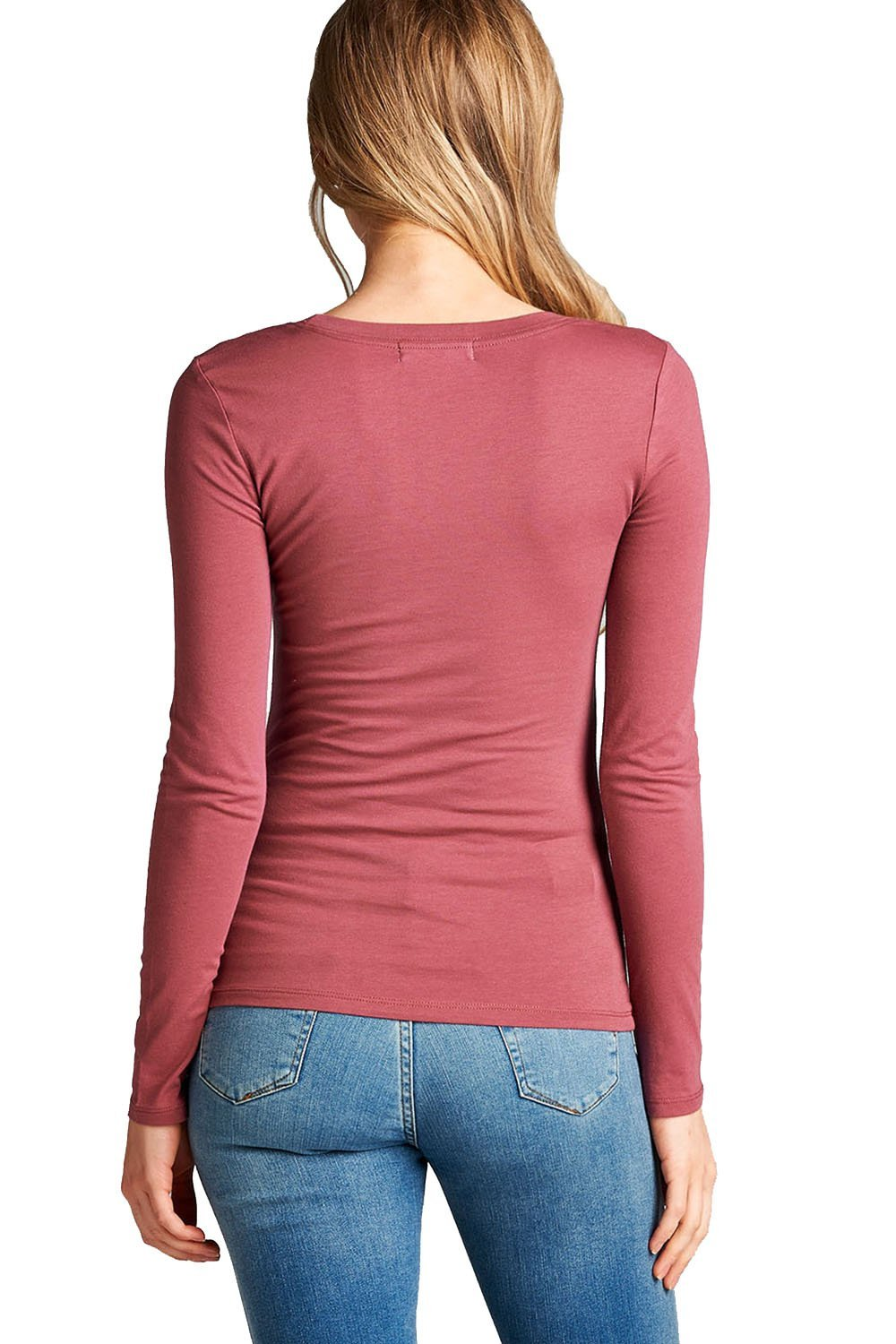 Plain Casual Scoop Neck Long Sleeve Tee T-Shirt