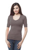 Plus Size Elbow Sleeve V Neck Plain Top