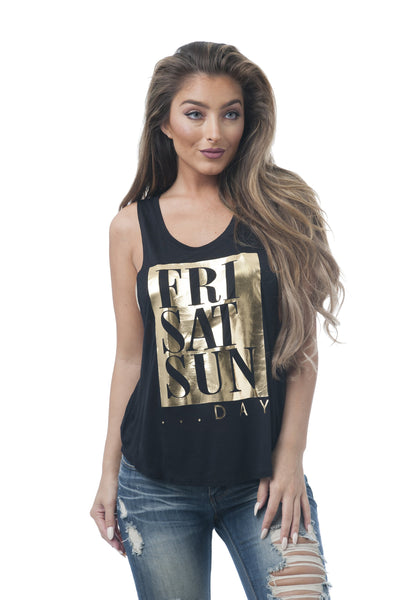 Khanomak Women's Sleeveless Shirt Tank Top Graphic Tee's Fri, Sat, Sun_Day