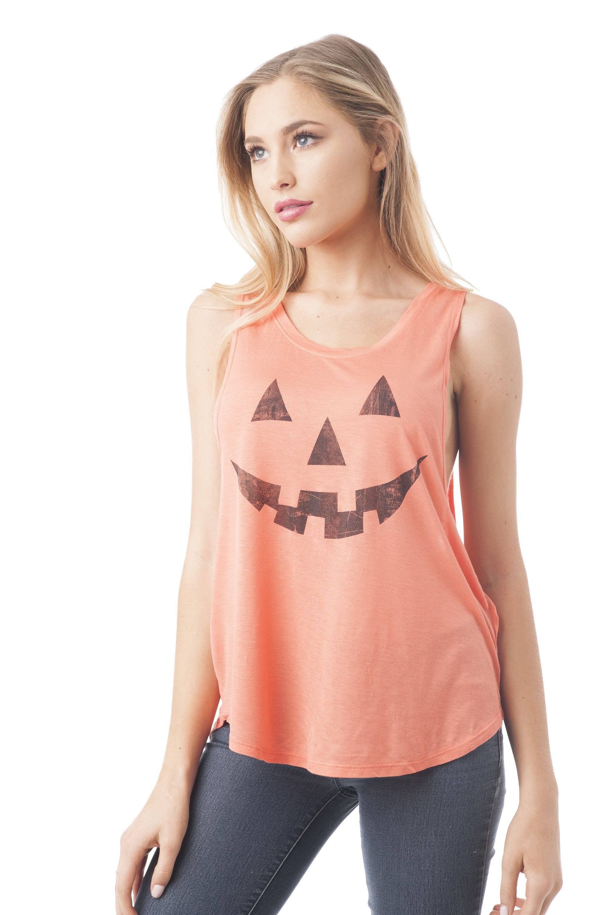 Khanomak Women's Sleeveless Shirt Tank Top Graphic Tee's Pumpkin Face