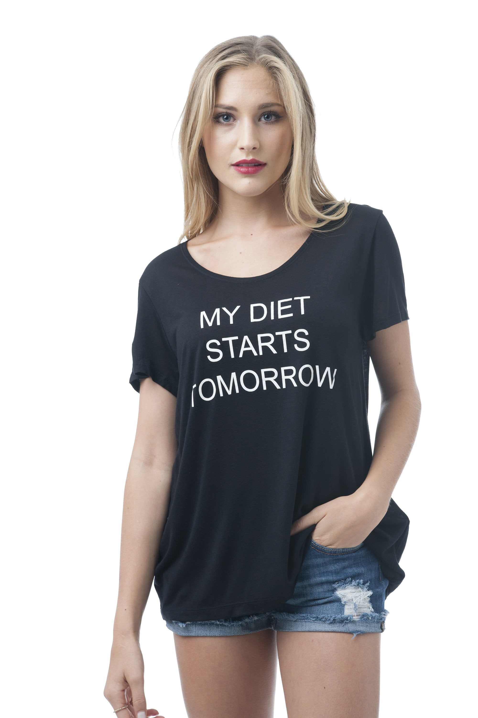 Khanomak Women's Sleeveless Shirt Tank Top Graphic Tee's My Diet Starts Tomorrow