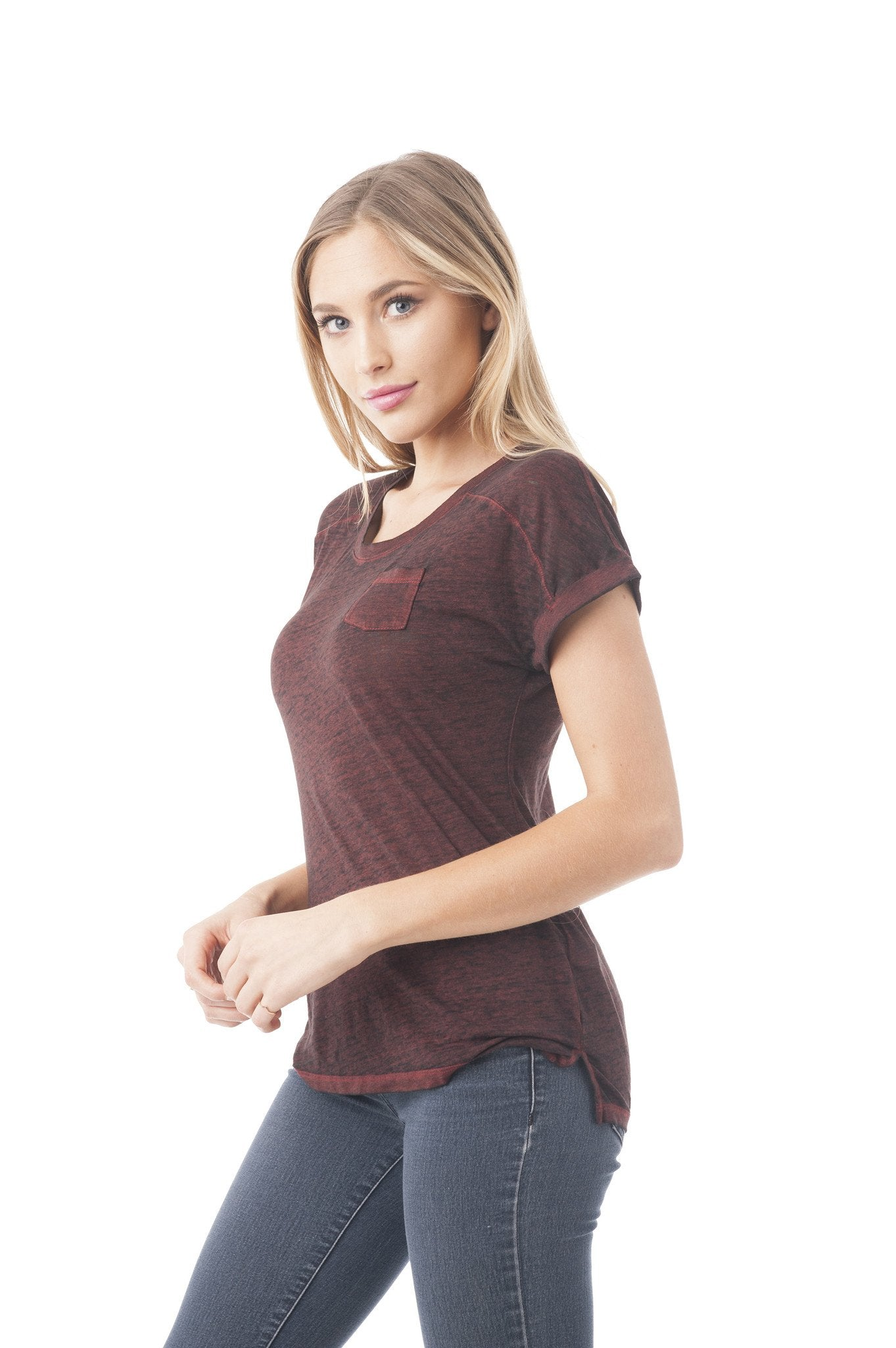 Short Sleeve Burnout Top With Front Pocket