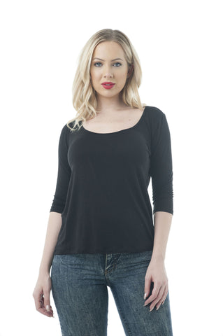 3/4 Sleeve Deep Scoop-Neck V-Cutout Back Top