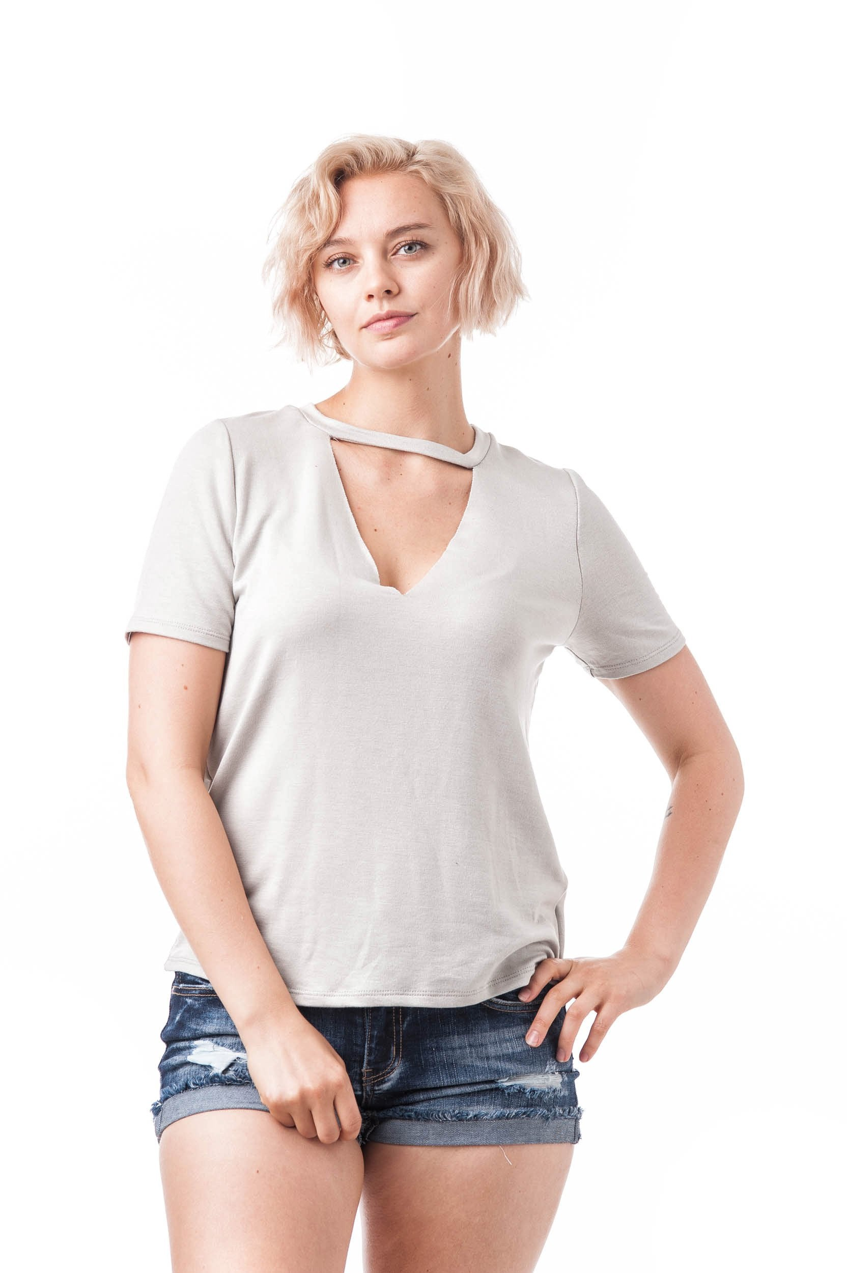 Short Sleeve Baby Terry Raw-Cut V-Neck Choker Oversized Top