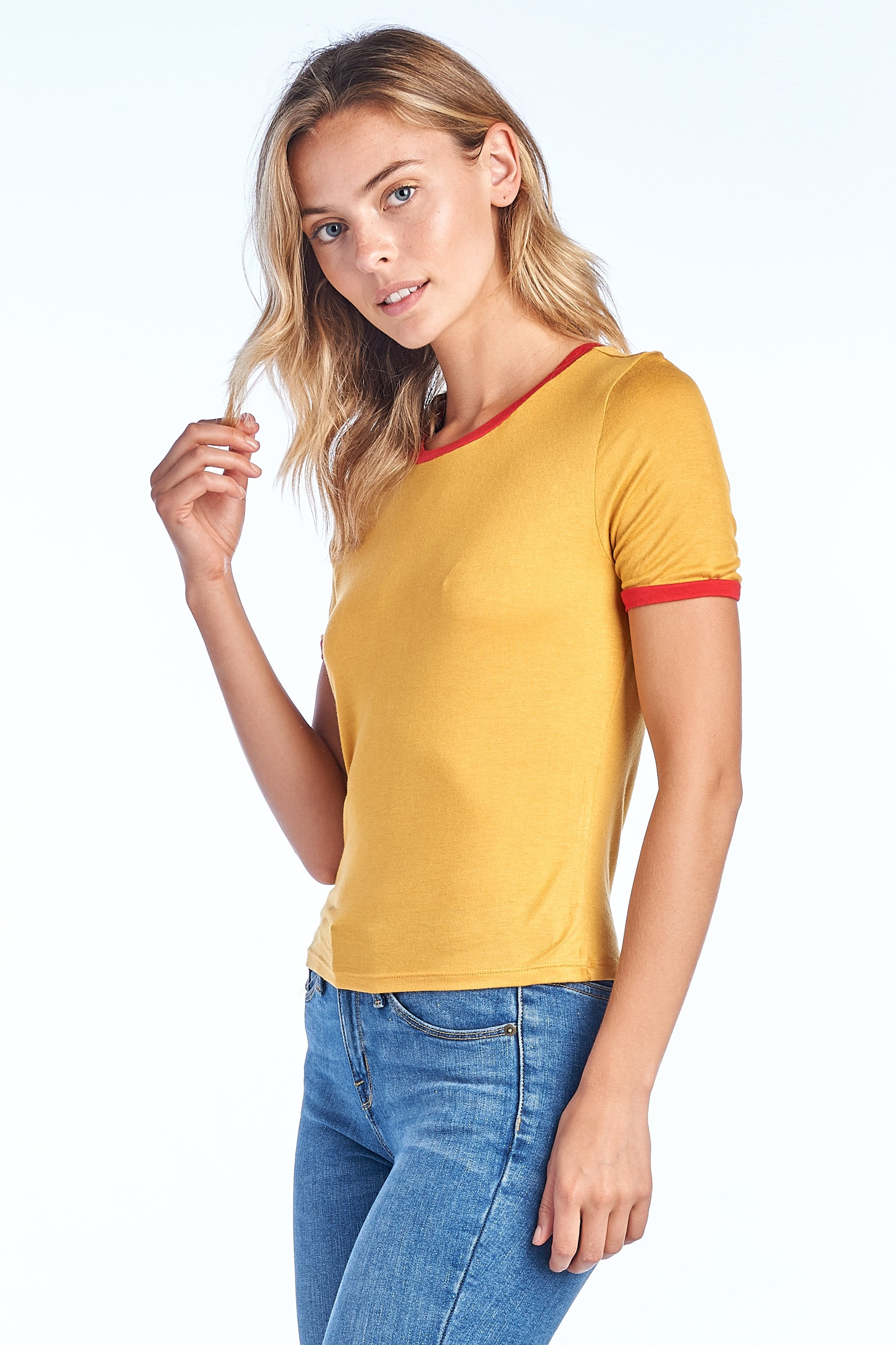 Women's Casual Basic Crew Neck Short Sleeve Color Block Ringer Cropped Tee Top