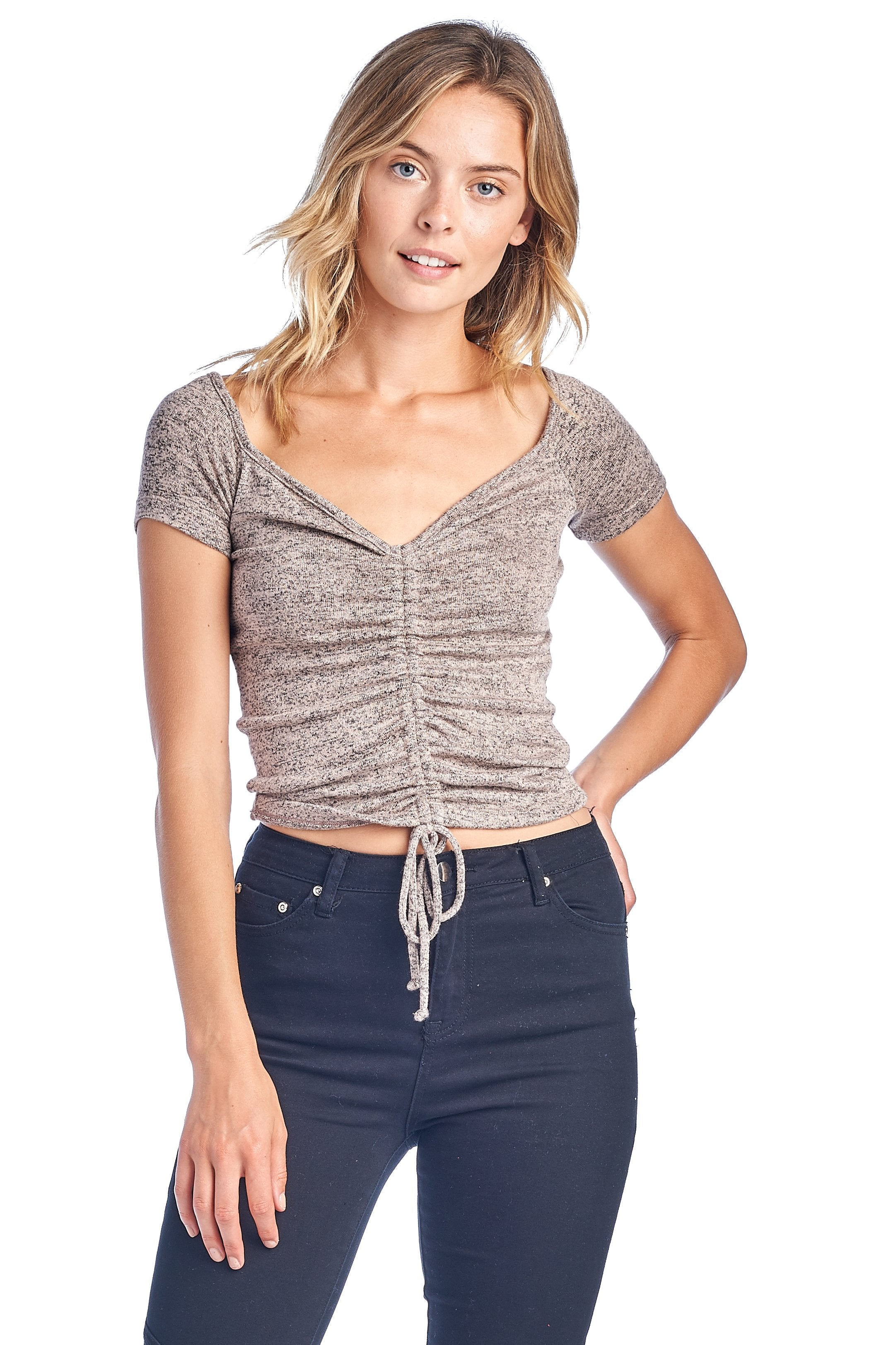 Women's Casual Short Sleeve V Neck Drawstring Ruched Self Tie Front Brushed Crop Top