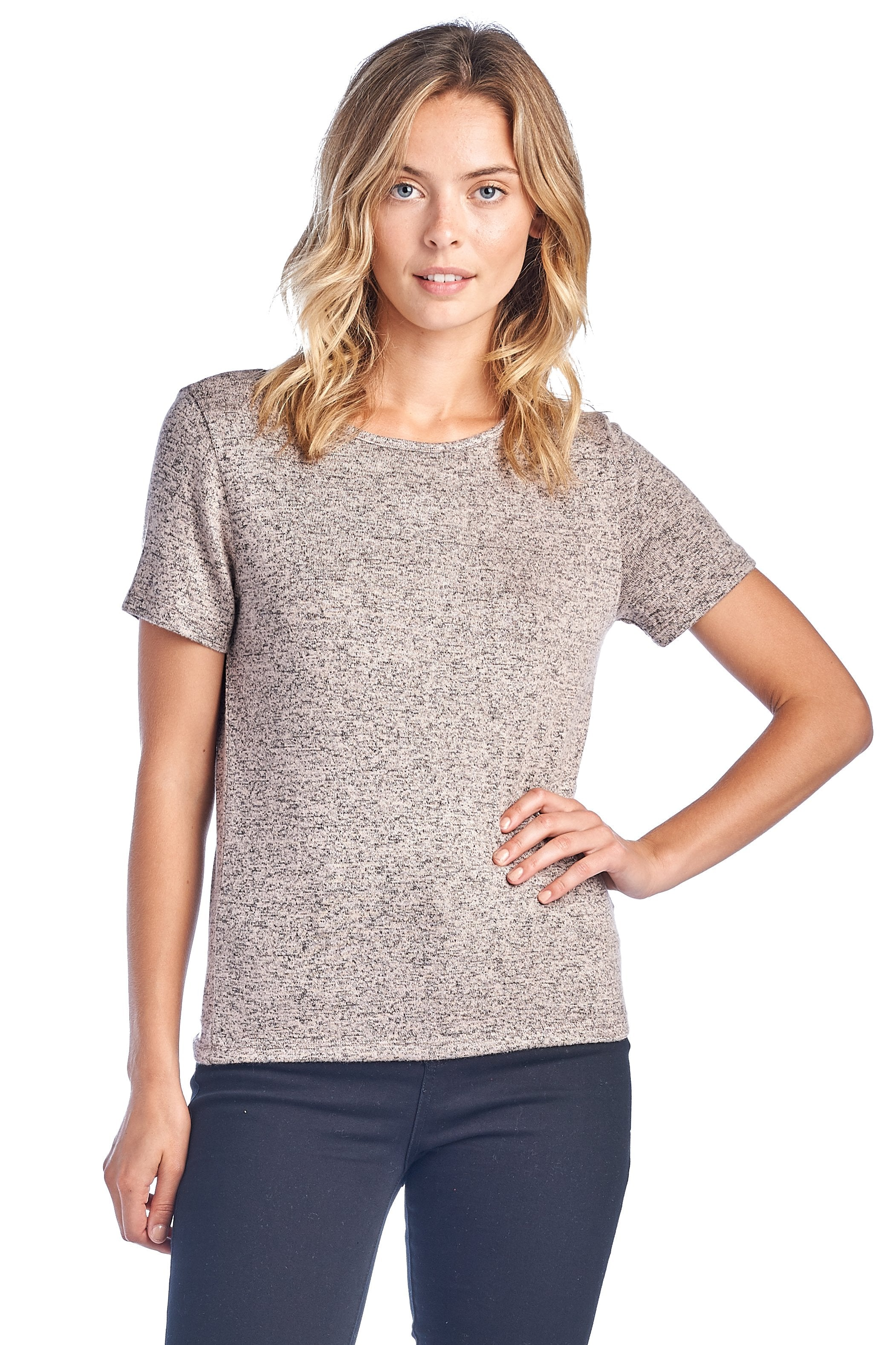 Women's Short Sleeve Crewneck Crisscross V Back Brushed Casual Fitted Top