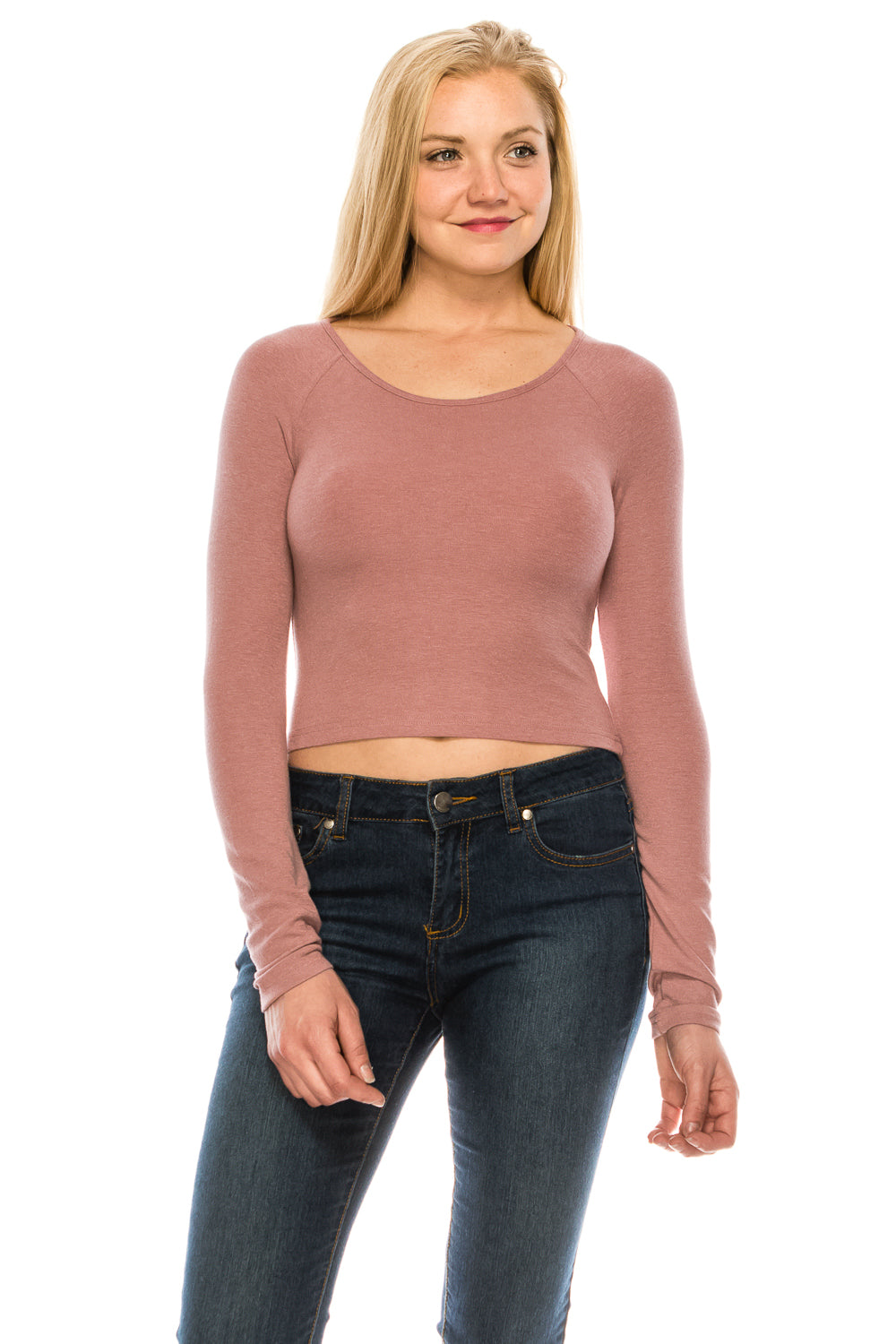 Women's Brushed  Knit Long Sleeve Scoop Neck Crop Top Sweater