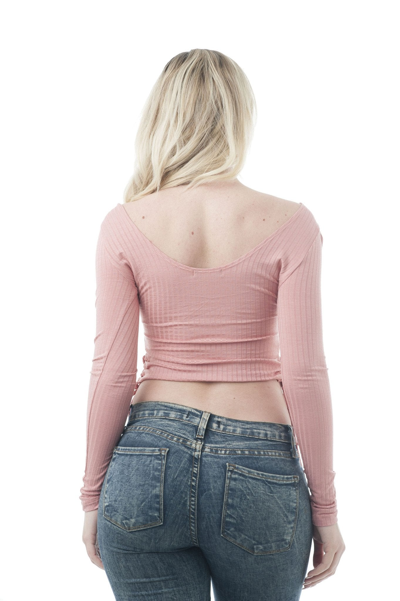 Long Sleeve Rib Scoop Neck Lace Up Side Crop Top