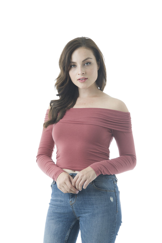 Ruched Off The Shoulder Fold Long Sleeve Plain Crop top