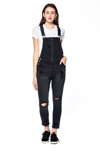 Khanomak Women's Distress Fray Hem Zip Front Skinny Pants Overalls