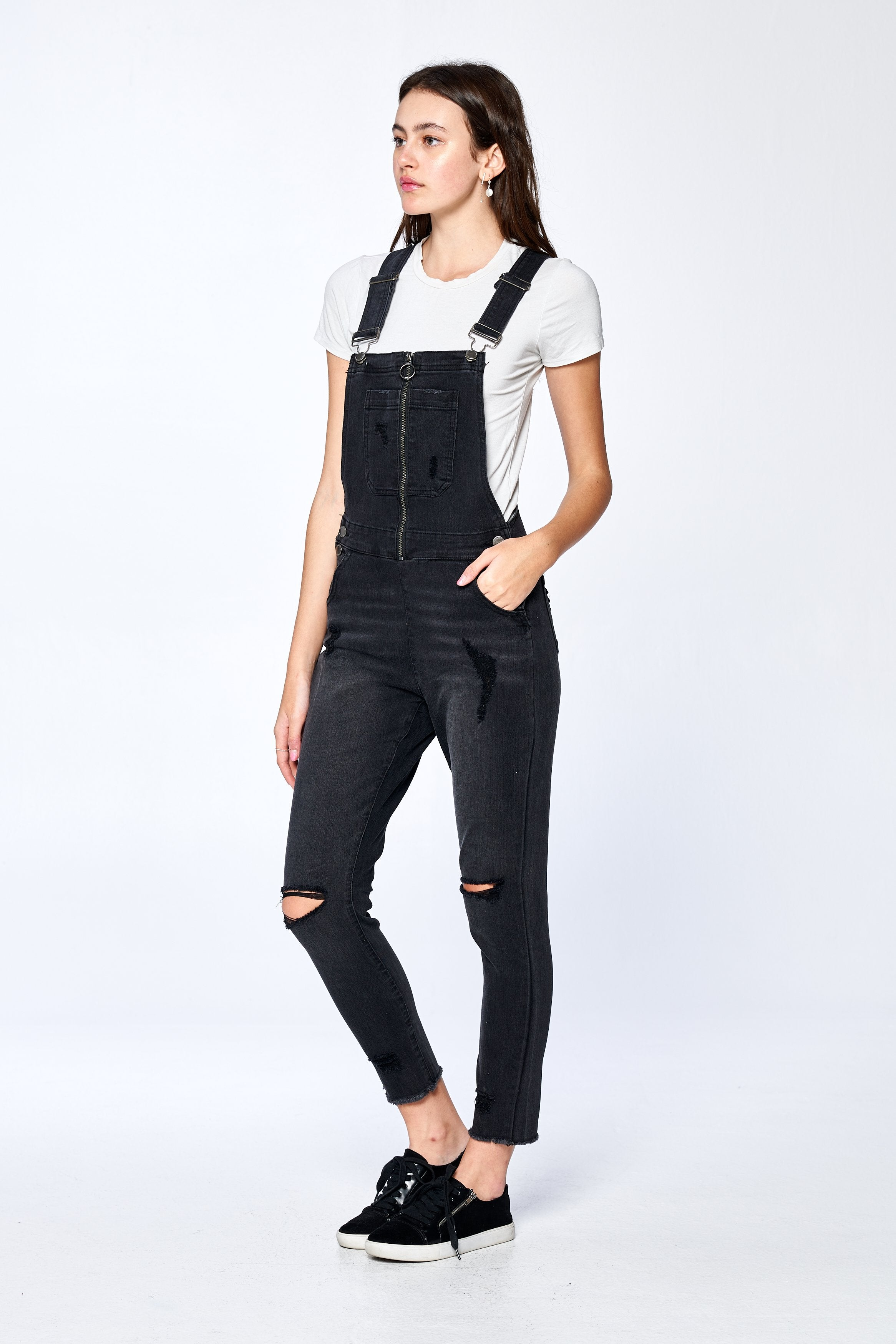 Khanomak Women's Distress Fray Hem Zip Front Overalls