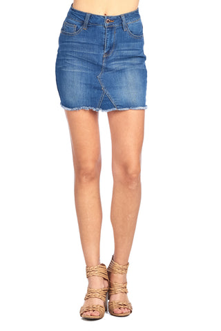 Classic Denim Jean Casual Basic Frayed Hem Faded Wash Mini Skirt
