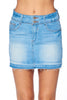 Khanomak Women's High Waist 2 Button Shadow Hem Denim Mini Skirt