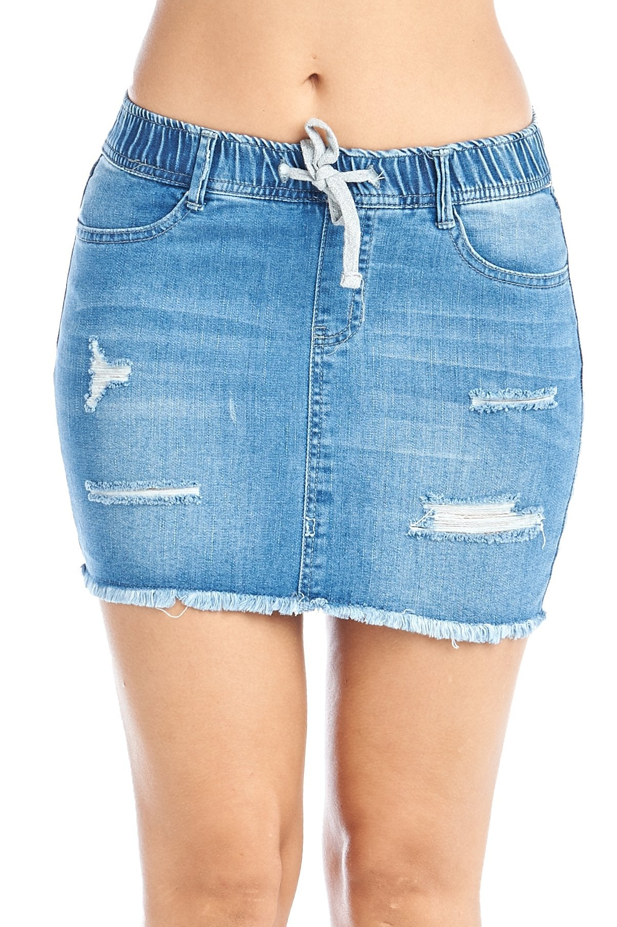 Women's Casual Cotton Elastic Drawstring Waist Distress Frayed Hem Denim Mini Skirt