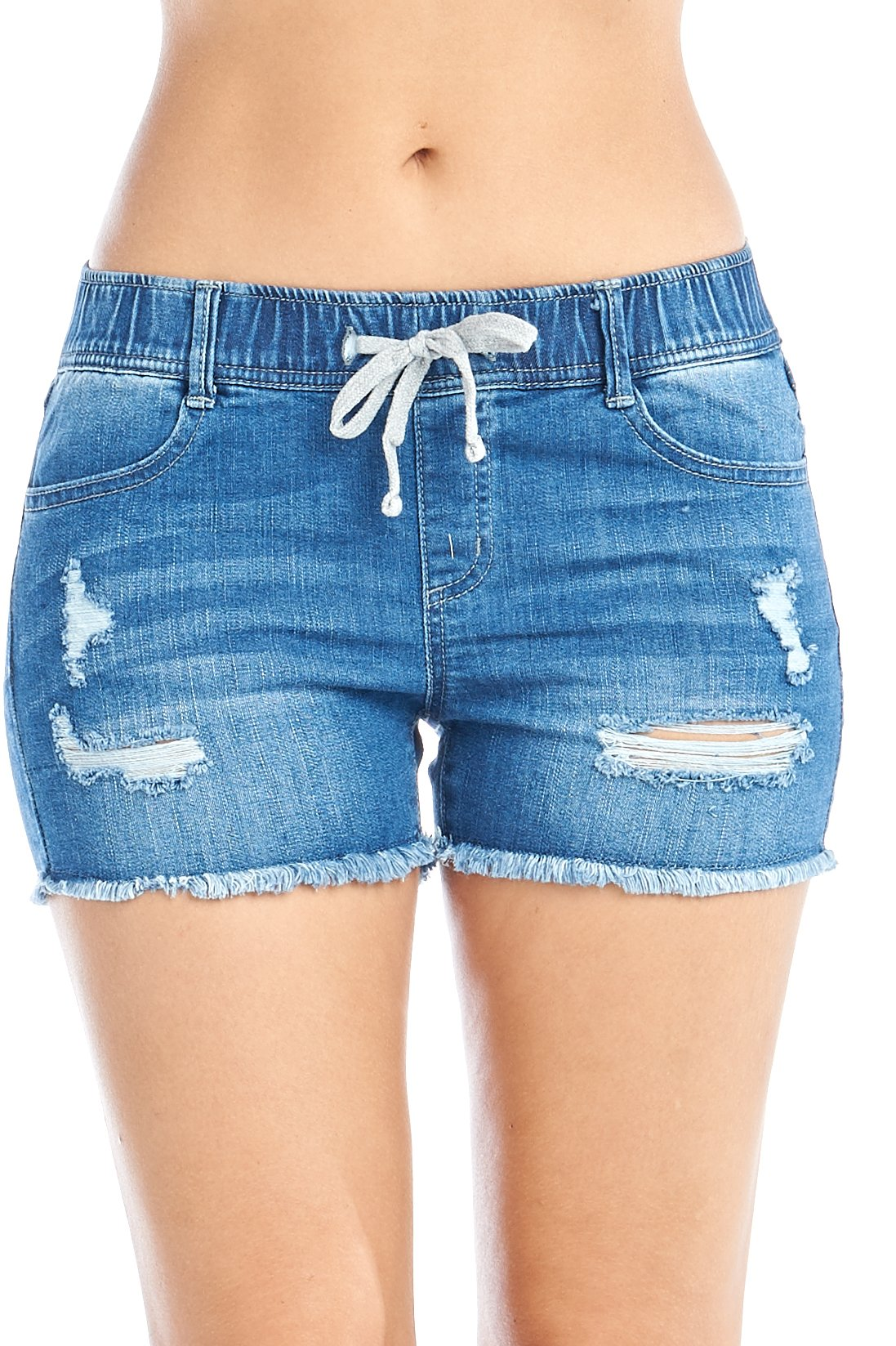 Women's High-Rise Elastic Drawstring Waist Distress Frayed Hem Stretch Denim Jean Shorts