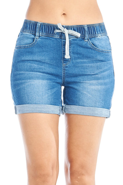 Khanomak Women's Stretch High Drawstring Elastic Waist Cuffed Denim Jean Casual Basic Shorts