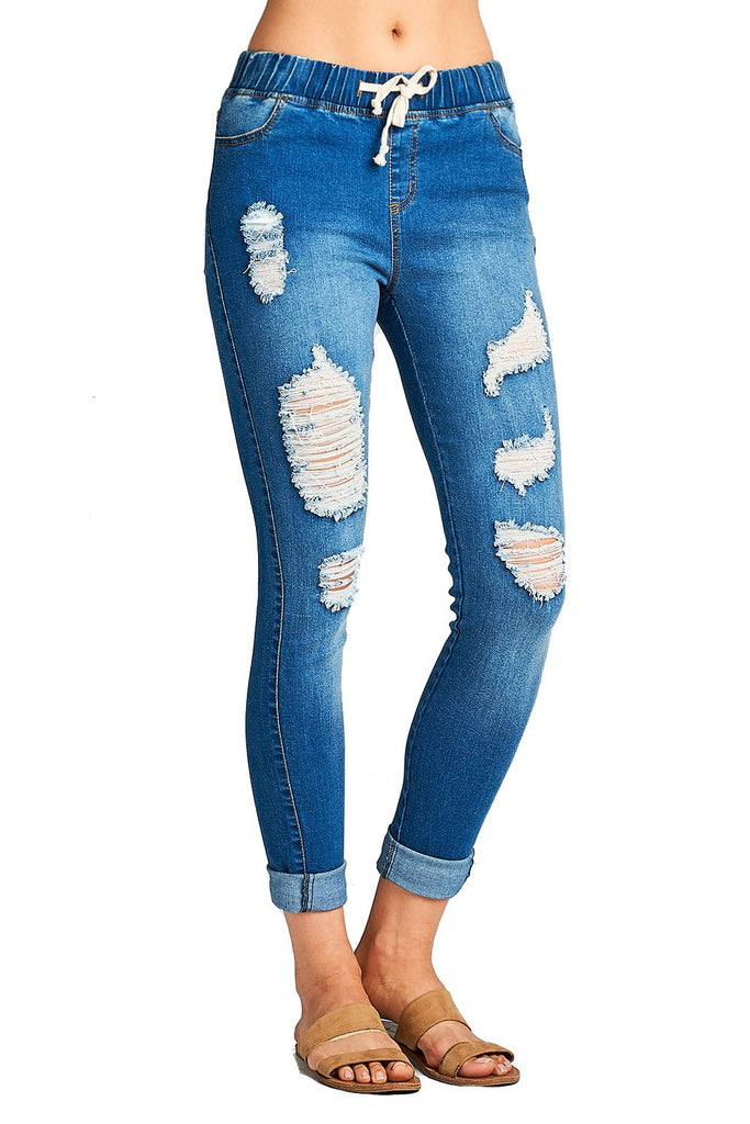 Drawstring Waist Ripped Distressed Fitted Skinny Jeans