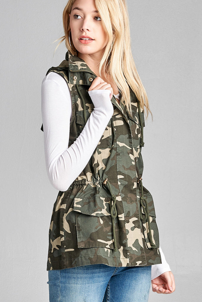 Sleeveless Camouflage Print Drawstring Waist With Hoodie Cotton Utility Vest