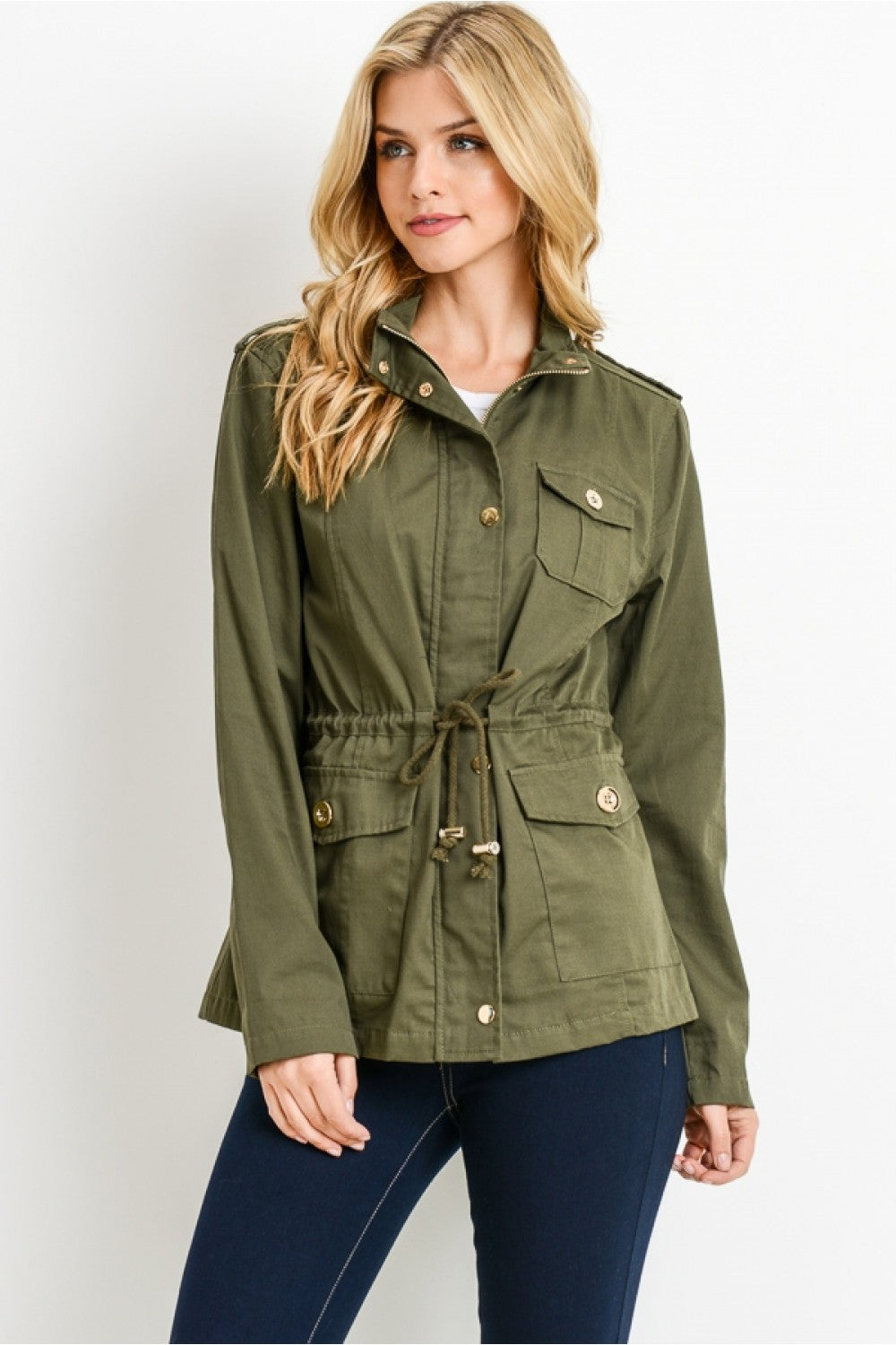 Zip Up Lightweight Military Versatile Utility Anorak Street Fashion Drawstring Adjustable Waist Jacket