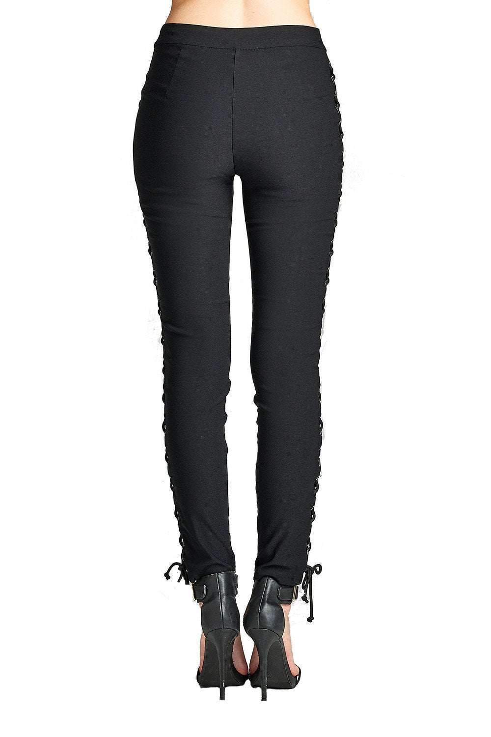 Plain Stretch High Rise Waist Side Lace Up Front Single Button Long Skinny Legging Pants