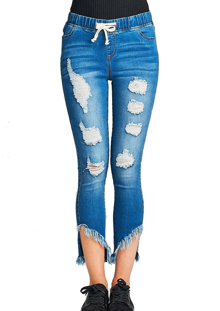 Drawstring Waist Ripped Distressed Frayed Hem Ankle Cut Fitted Skinny Jeans