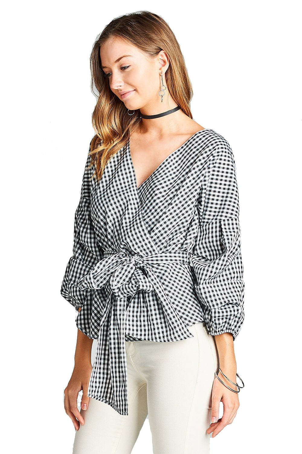 Gingham Puff Ruched Sleeve V Neck Surplice Waist Wrap Tie Woven Top