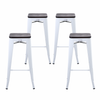 "Buschman Set of Four Matte White  30"" Industrial Metal Stackable Backless Barstools with Wooden Seat"