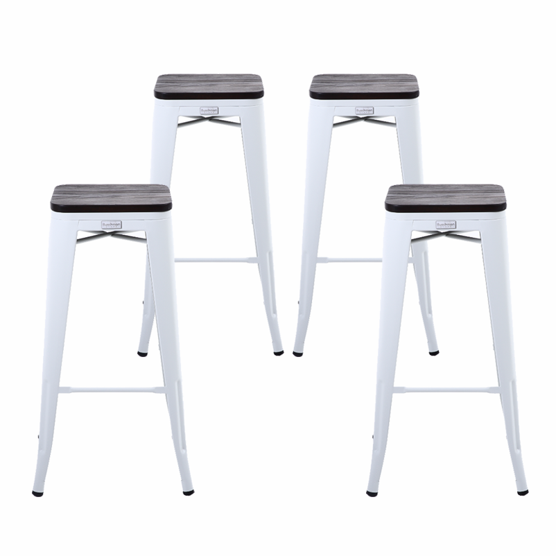 Buschman Set Of 4 Matte White Wooden Seat 30 Inch Bar Height Metal