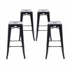 "Buschman Set of Four Matte Black 30"" Industrial Metal Stackable Backless Barstools"