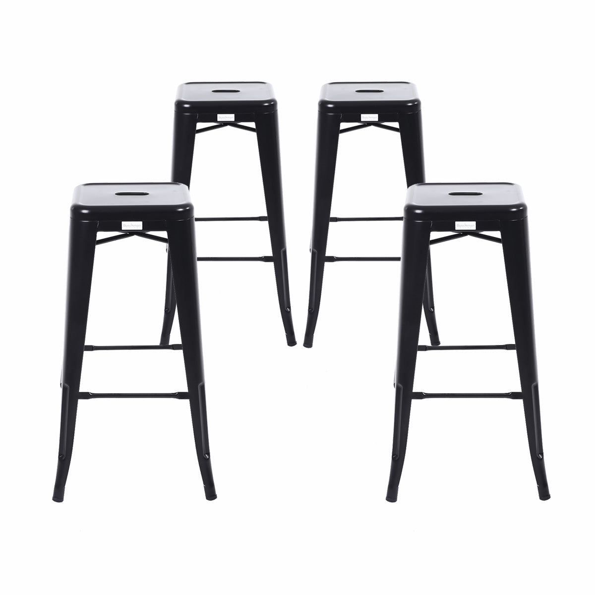 Buschman Set Of 4 Matte Black 30 Inch Bar Height Metal Bar Stools