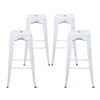 "Buschman Set of Four Matte White 30"" Industrial Metal Stackable Backless Barstools"