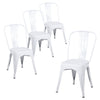 Buschman Set of Four White Dining Room Industrial Metal Stackable Chairs With Back